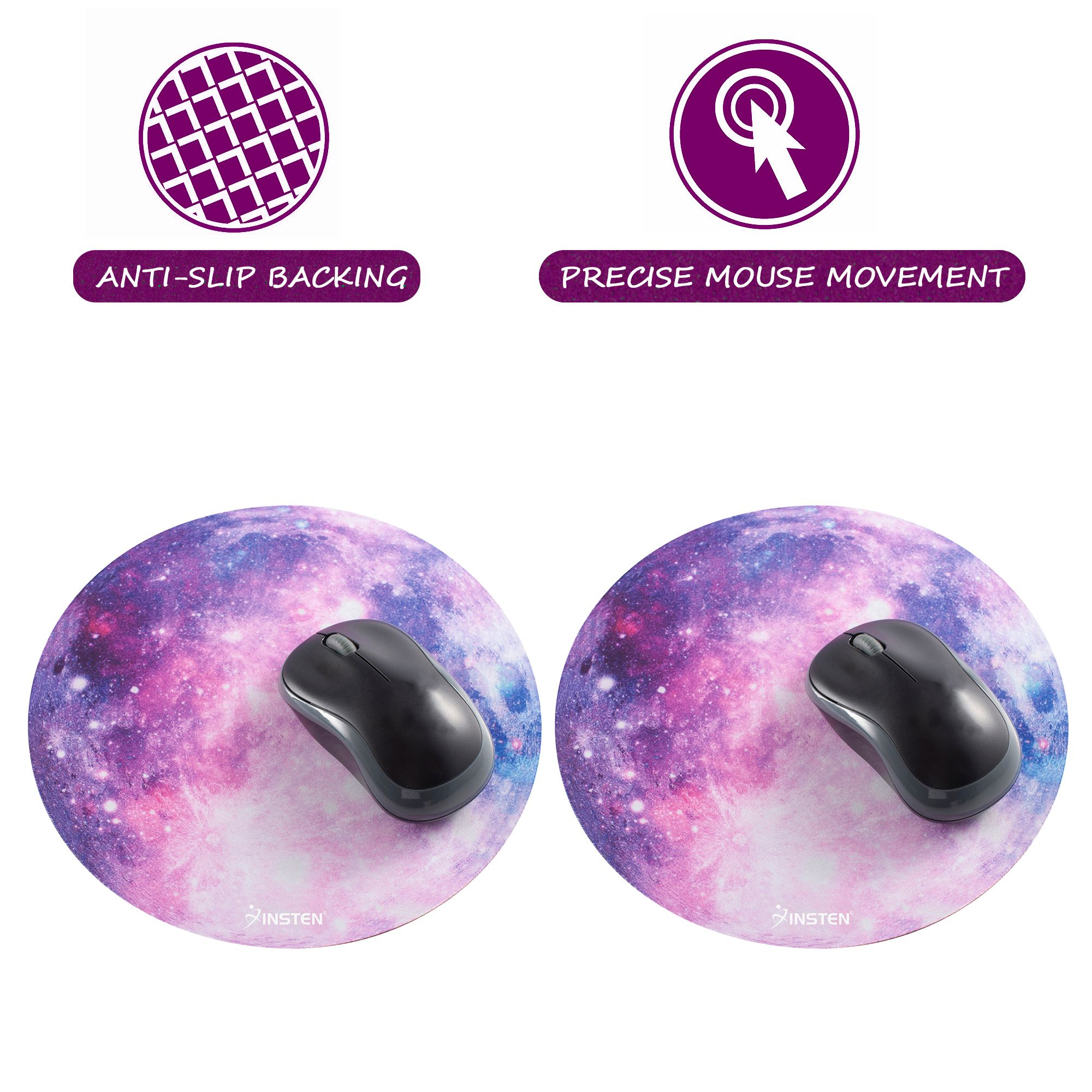 "Insten 2-pack Galactic Space Design Round Galaxy Mouse Mat Pad Anti-Slip Backing and Silky Smooth Surface 2mm Ultra Thick Diameter: 8.46"" For Laptop PC Gaming Home Office - Purple Nebula"