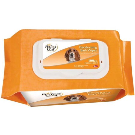 - Perfect Coat Deodorizing Bath Wipes for Dogs, 100 ct