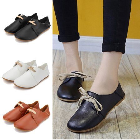 Fashion Women Flats Shoes Slip On Comfort Shoes Casual Leather Students