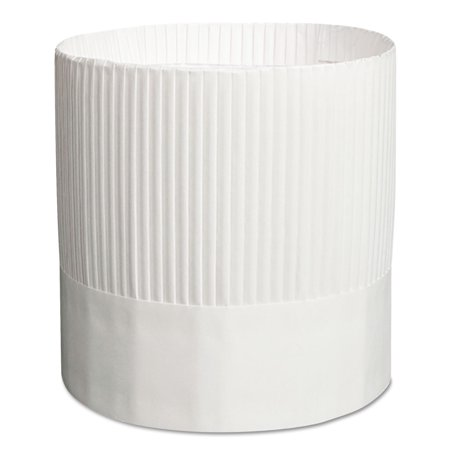 Stirling Fluted Chef's Hats, Paper, White, Adjustable, 7 in. Tall, 15/Carton](Milk Carton Hat)