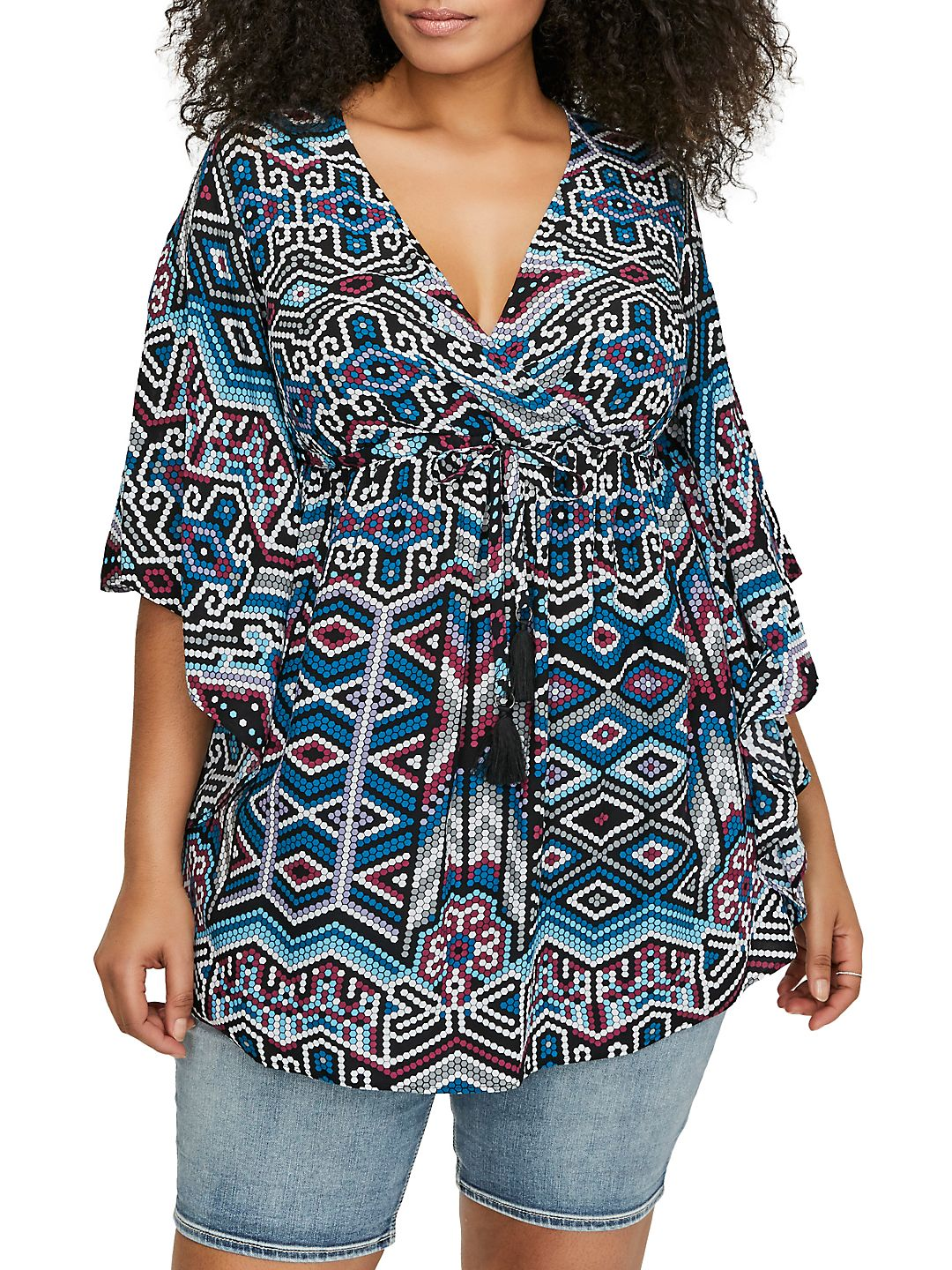 Plus Printed Loose-Fit Caftan Tunic