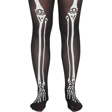 Star Power Skeleton Bone Legs Pantyhose, Black White, - Skeleton Tights Diy