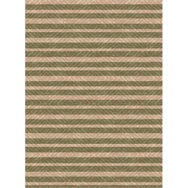 IMS 26071890605082 Stripes Pattern Heavyweight Outdoor Patio Rug, Green & Beige - 5 x 8 ft.