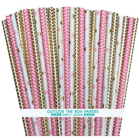 Pink and Gold Chevron and Star Foil Paper Straws  100 Pack