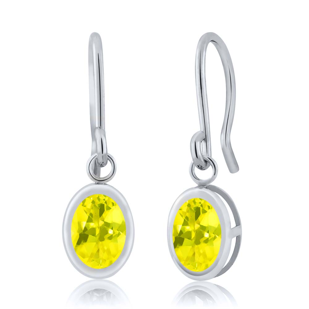 1.90 Ct Oval Canary Mystic Topaz 925 Silver French Wire Dangling Earrings