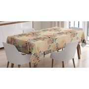 Modern Decor Tablecloth French Paris Themed Lettering With Floral Leaves Details Art Rectangular Table