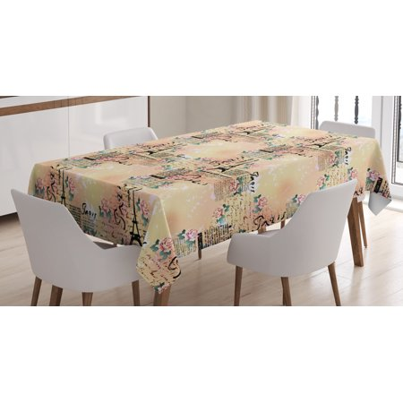 Modern Decor Tablecloth, French Paris Themed Lettering with Floral Leaves Details Art, Rectangular Table Cover for Dining Room Kitchen, 60 X 84 Inches, Blue Black and Light Pink , by Ambesonne](Paris Themed Decor Accessories)