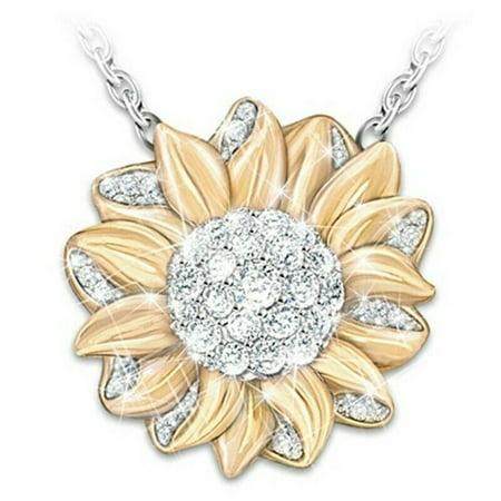 AkoaDa Fashion You Are My Sunshine Gold Sun Flower Diamond Pendent Necklace Jewelry Wzm Diamond Fashion Flower Pendant