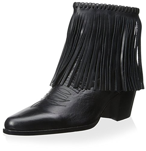 Bettye Muller Women's Fringe Bootie, Black, 5.5 M US