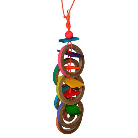 """Super Bird Creations SB625 Chewable Olympic Rings Bird Toy with Colorful Paper Bagels and Wooden Blocks, Large Size, 15"""" x 4"""" x 4""""RELIEVES.., By SUPERBIRD"""