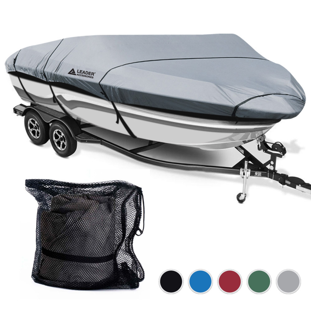 Leader Accessories 300D Polyester 5 Colors Waterproof Trailerable Runabout Boat Cover Fit V-hull Tri-hull Fishing Ski Pro-style Bass Boats, Full Size