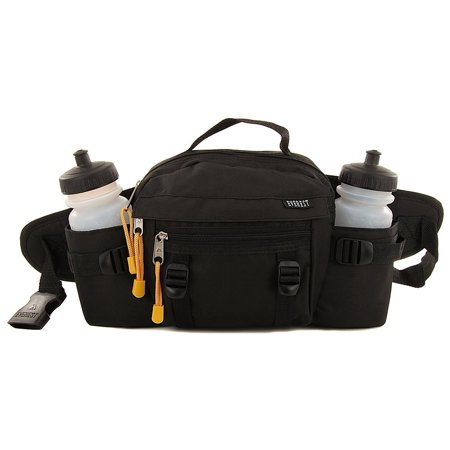 Premium Fanny Waist Lumbar Pack with Water Bottle Holder Hiking Climbing Walking Outdoors by Everest, Includes 2 Everest Squeeze Bottles (Black) ()