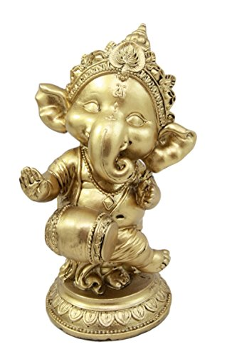 """Atlantic Collectibles Ceremonial Dancing God Ganesha Elephant With Mridangam Drum Decorative Figurine 6""""H by Atlantic Collectibles"""