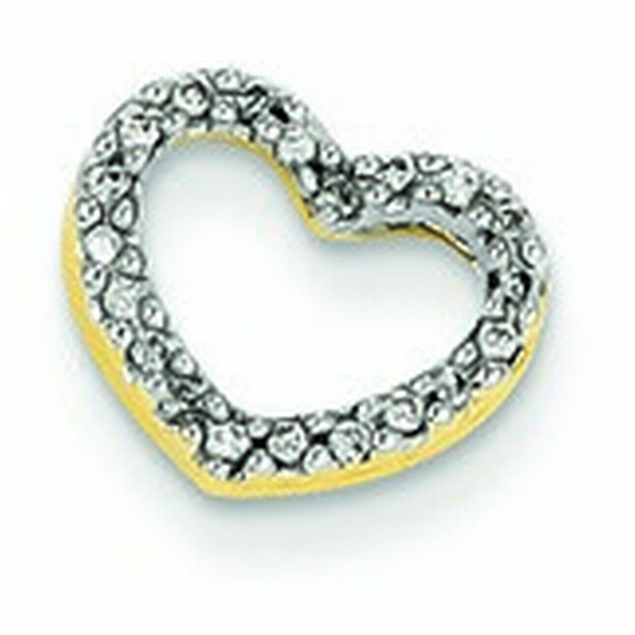 14k Gold Diamond Heart Slide - .08 dwt