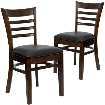 Flash Furniture Ladder Back Chairs - Set of 2, Walnut / Black Vinyl Seat