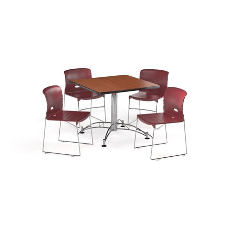 "OFM Multi-Use Break Room Package, 42"" Square Table with Contract Chairs, Cherry Finish with Chrome-Plated Steel Base and Wine Seats (PKG-BRK-112)"