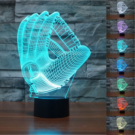 New Baseball gloves Visual 3D Night Light 7 Color Change LED Table Lamp Toy Gift - Night Toys