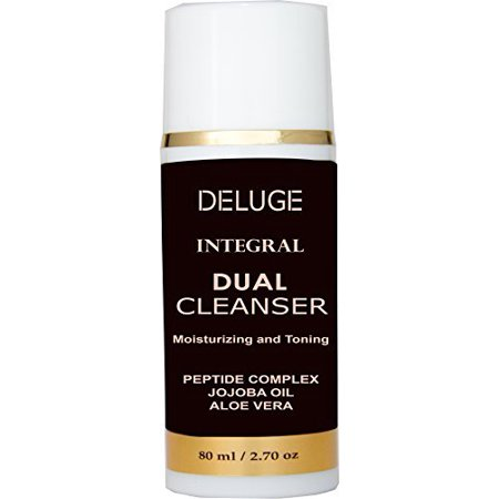 DELUGE - CREAM CLEANSER, MOISTURIZING AND TONING WITH PEPTIDES COMPLEX, AMINO ACIDS, SHEA BUTTER, JOJOBA OIL, 100% ORGANIC OILS. 70% ORGANIC. NON-FOAMING MAKEUP REMOVER. ANTI- AGING FACE