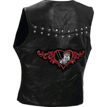 Diamond Plate Ladies Rock Design Genuine Lambskin Leather Vest