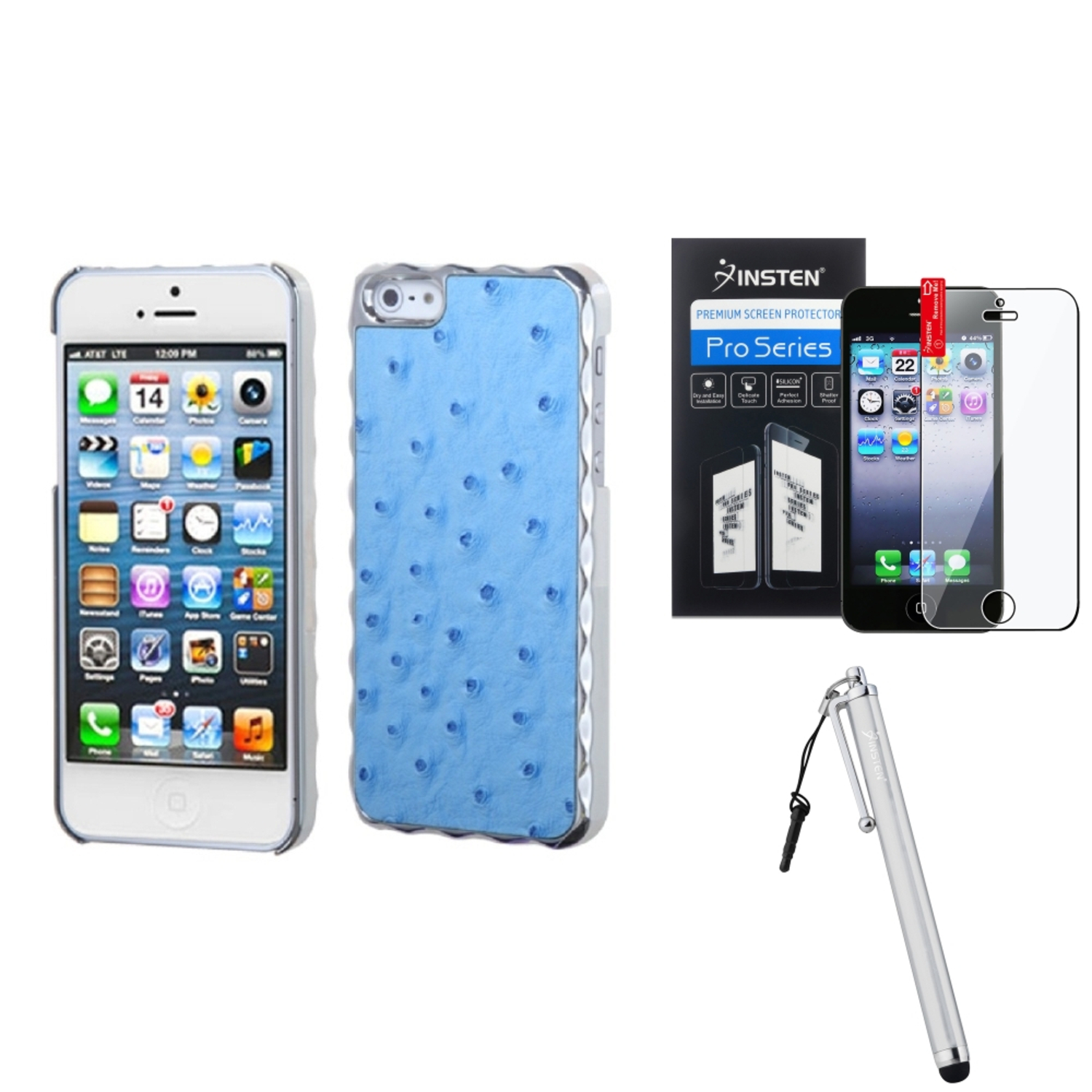Insten Sky Blue Silver Plating Ostrich Leather Alloy Case For iPhone SE 5S 5 + Stylus + Protector