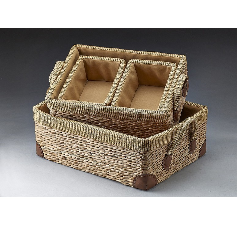 Set of 4 Rectangular Hyacinth Baskets With Fabric Trim And Lining