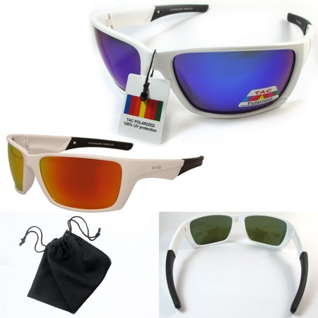Mens White Polarized Sunglasses Blue Mirror Lens Anti-Glare Moto Fishing Bike