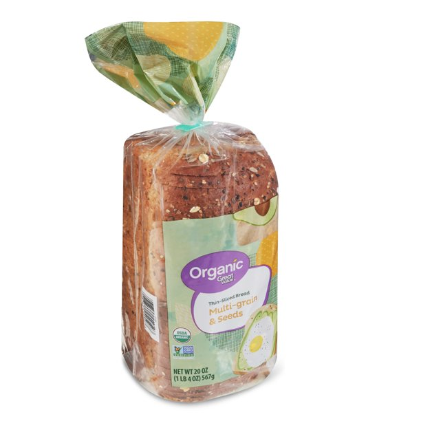 Great Value Organic Multi-Grain & Seeds Thin-Sliced Bread, 20 oz
