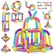 Contixo ST2 Magnet Stix 68 Piece Set STEM, 3D Magnetic Building Sticks Tiles & Construction Blocks Kid's Toys