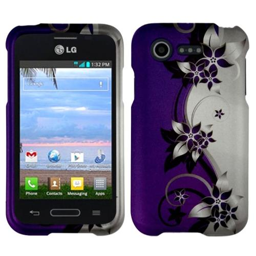 Insten Purple/Silver Vines Hard Skin Protective Case for LG Optimus Zone 2 VS415PP L34C Fuel