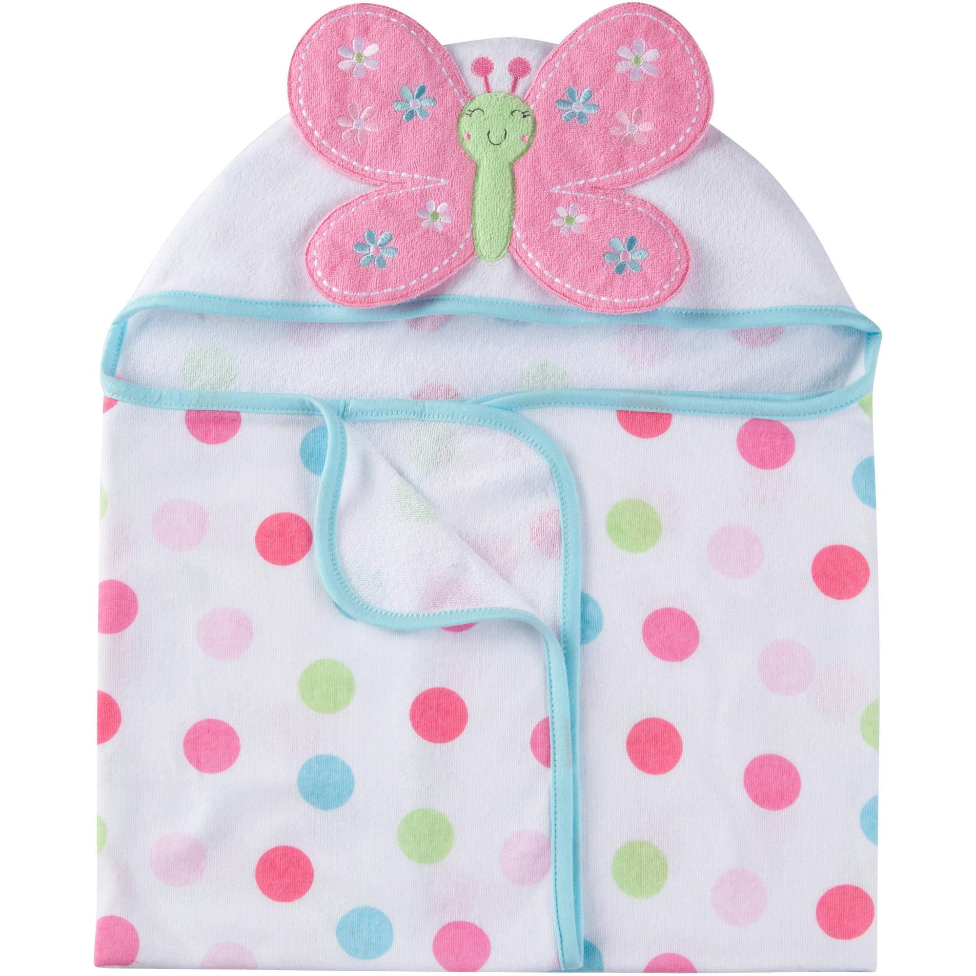 Gerber Newborn Baby Girl Terry Hooded Bath Wrap