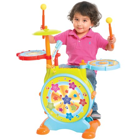 Best Choice Products Kids Electronic Toy Drum Set with Adjustable Sing-along Microphone and Stool - Plastic Microphone Toy