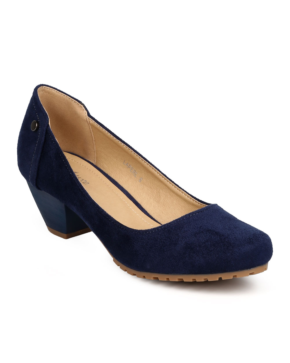 New Women Styluxe Laperl Faux Suede Round Toe Lug Sole Chunky Heel Pump