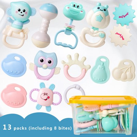 Grab Rattle - 13pcs Baby Rattles Teether Toys, Shaker, Grab Infant BPA Free Toys, Bright Color and Various Shapes Rattle Gift Set Sensory Development Toys for 3, 6, 9, 12 Month Baby Infant, Newborn