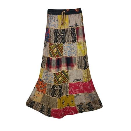 0e629f09a Mogul Interior - Mogul Womens Indian Vintage Patchwork Long Skirt Printed  A-Line Gujarati Dori Gypsy Hippie Chic Skirts - Walmart.com