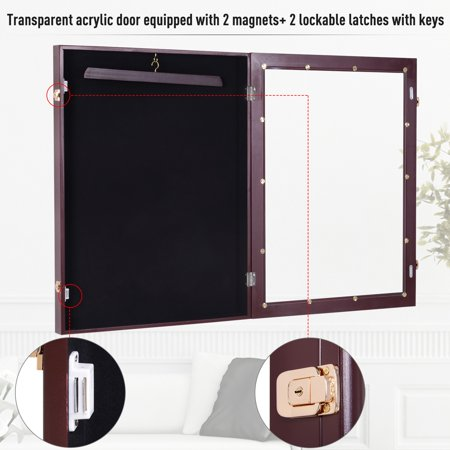 "Jersey Display Case 26"" Memorabilia Sports Baseball Shirt Cabinet Shadow Box Lockable Cherry Brown - image 6 de 7"