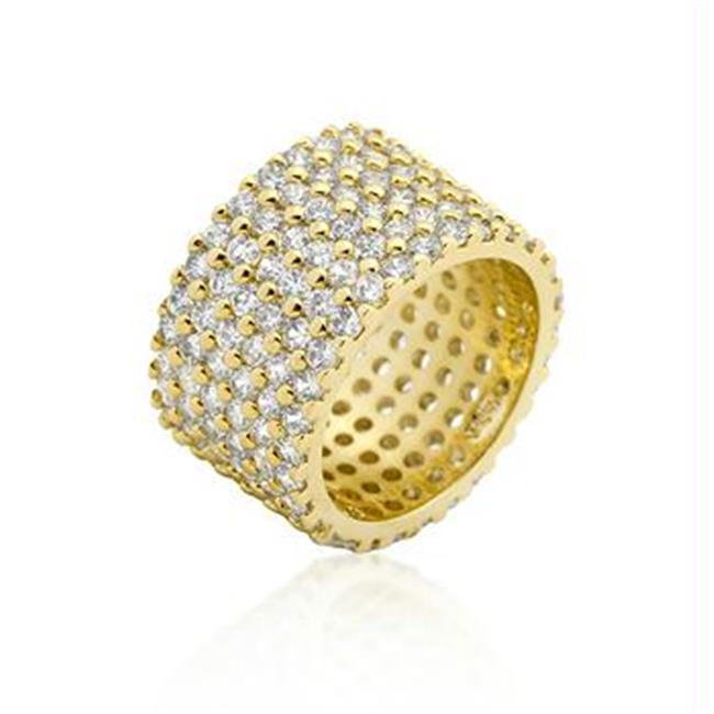 Goldtoned Wide Pave CZ Ring, <b>Size :</b> 08