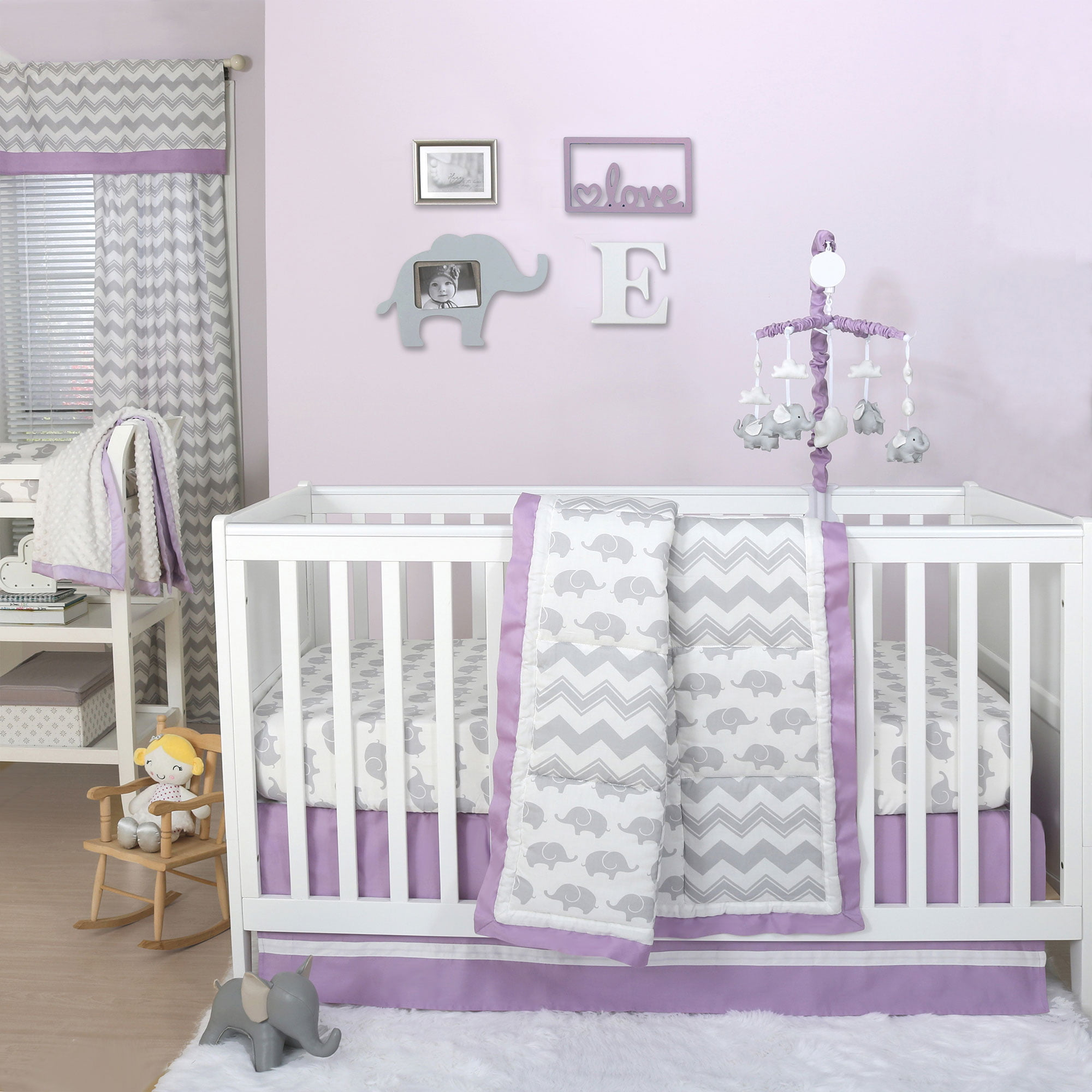 The Peanut Shell 3 Piece Baby Crib Bedding Set Grey Elephant And Zig Zag Patchwork With Purple Trim 100 Cotton Quilt Skirt Sheet