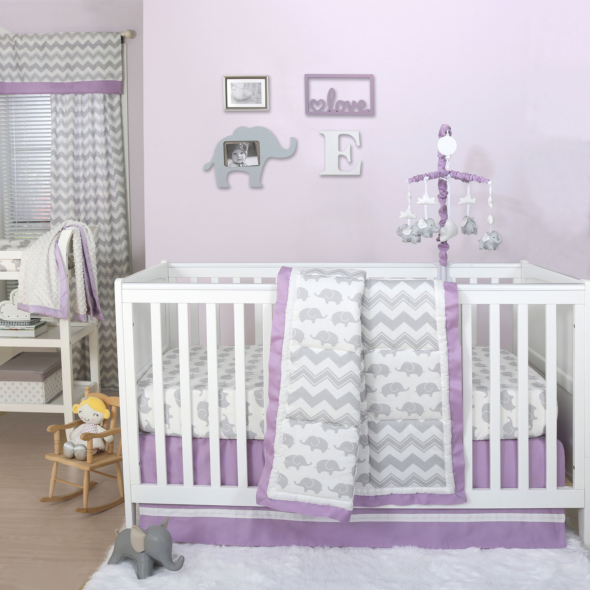 Peanut Shell 4 Piece Baby Girl Crib Bedding Set - Grey El...
