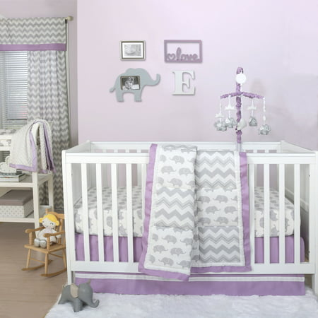 The Peanut Shell 3 Piece Baby Crib Bedding Set - Grey Elephant and Zig Zag Patchwork with Purple Trim - 100% Cotton Quilt, Crib Skirt and Sheet