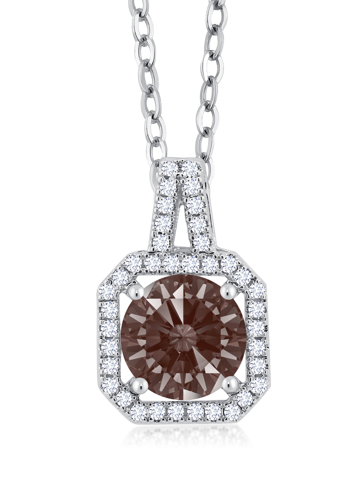 Rhodium Plated Pendant Set with Round Fancy Brown Zirconia from Swarovski