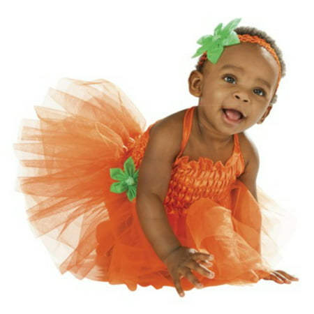 Infant Girls Pumpkin Tutu Costume with Dress & Headband  - Size - 6-12 Months