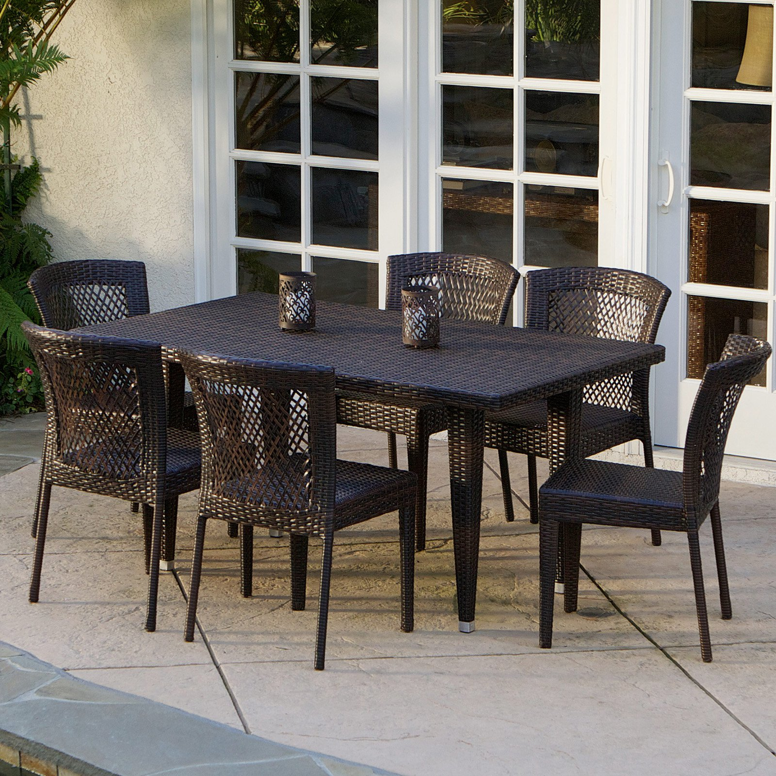 Click here to buy Dusk All-Weather Wicker Patio Dining Room Set Seats 6 by Overstock.