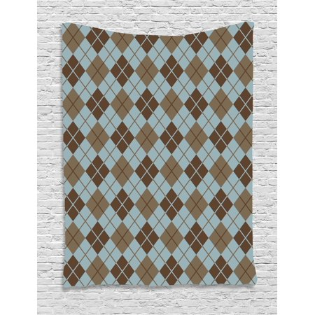 Brown and Blue Tapestry, Argyle Pattern with Diamond Shaped Rectangles Lines Abstract Geometric, Wall Hanging for Bedroom Living Room Dorm Decor, 40W X 60L Inches, Bluegrey Brown, by Ambesonne