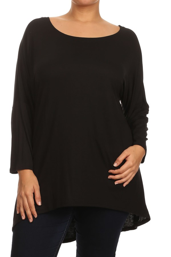 Women's PLUS trendy style, long sleeves solid tunic top.