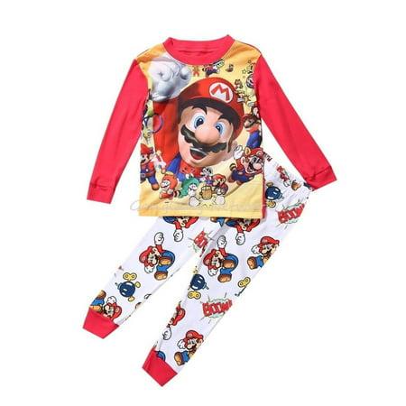 Super Mario Baby Kids Boys Leisure Clothes Sets Nightwear Sleepwear Pyjamas 1~7Y - Night Clothes For Boys