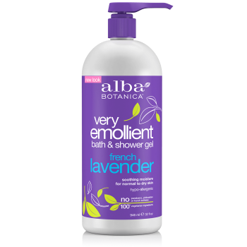 Alba Botanica Very Emollient French Lavender Bath & Shower Gel 32 oz.