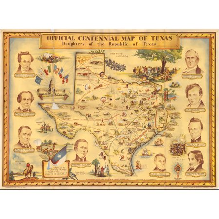 LAMINATED POSTER Official Centennial Map of Texas Daughters of the Republic of Texas POSTER PRINT 24 x 36 ()