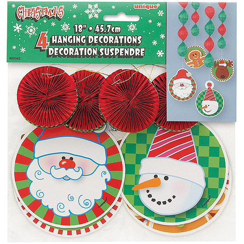 "18"" Hanging Christmas Decorations, 4-Count"