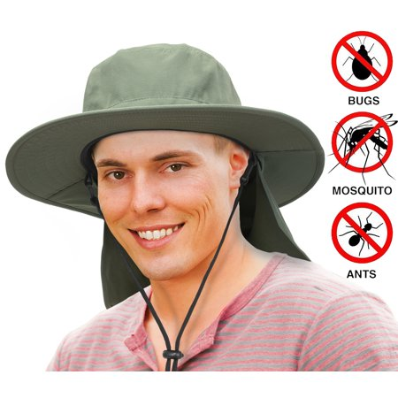 - Unisex Fishing Hat with Foldable Neck Flap Cover Wide Brim Sun UV Protection Hiking Safari Bucket Cap for Bug Free(Olive)