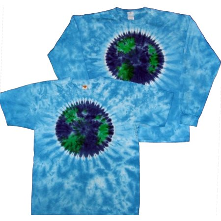 Tie Dyed Shop Planet Earth on Sky Blue Tie Dye T Shirt Short Sleeve Mens Small
